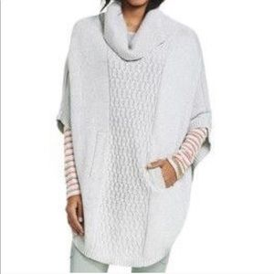 CAbi cowl neck poncho sweater gray